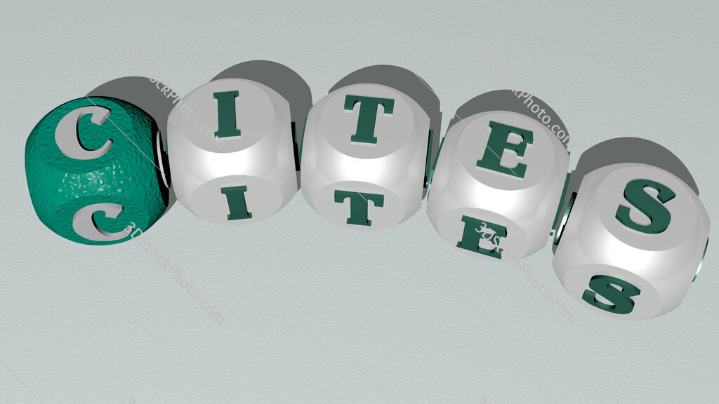 CITES curved text of cubic dice letters