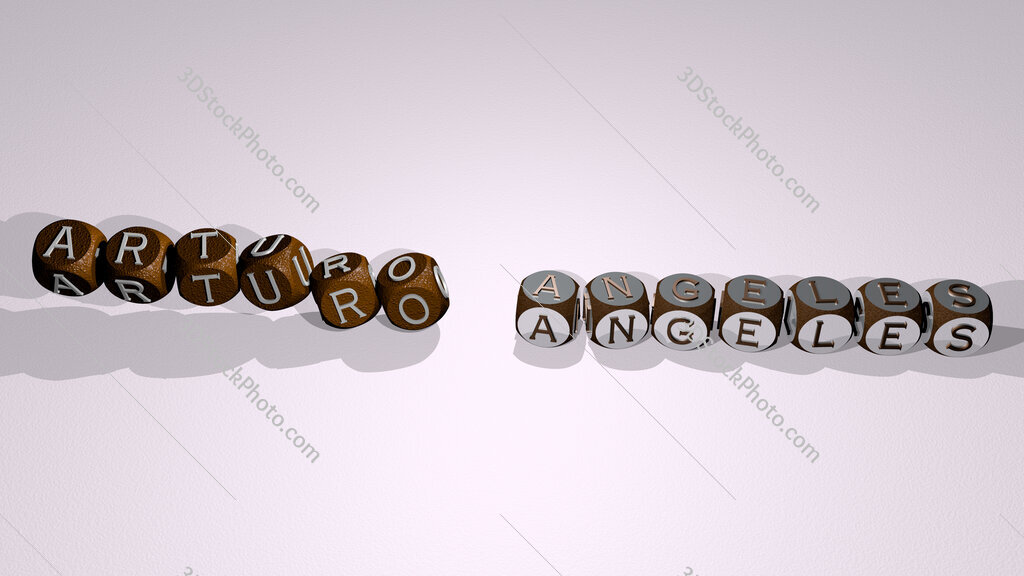 Arturo Angeles text by dancing dice letters