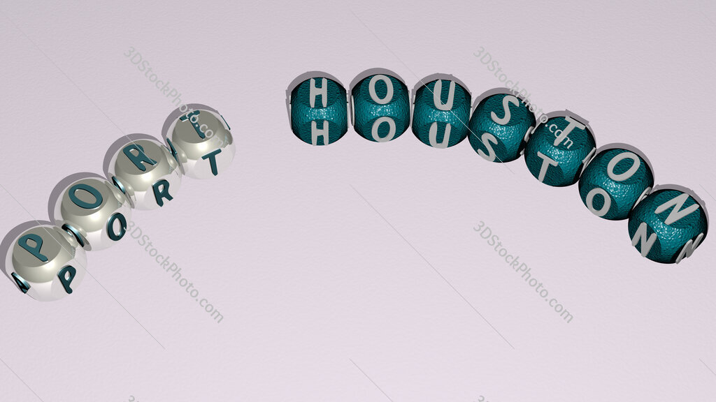 Port Houston curved text of cubic dice letters