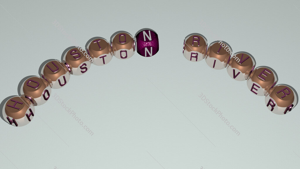 Houston River curved text of cubic dice letters