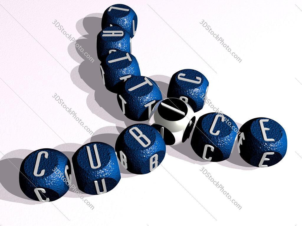 cubic lattice curved crossword of cubic dice letters