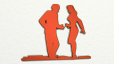 woman and man arguing or dancing