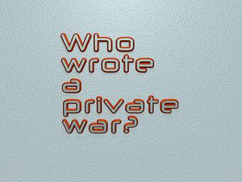 Who wrote a private war?