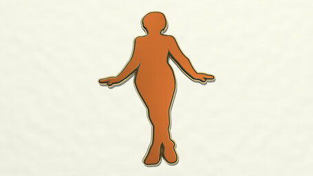 woman standing with open arms and cross legs