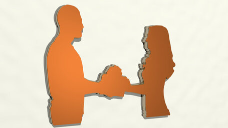 man and woman giving gift