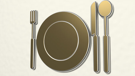 table set of plate, fork, knife, and spoon