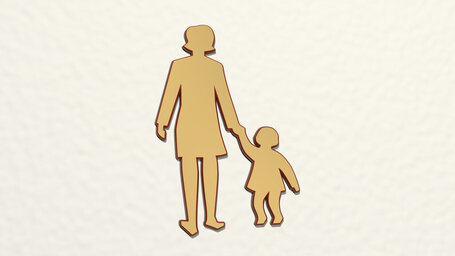 woman holding hand of child