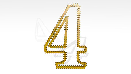 number 4 made of stars