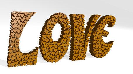 Love word by heart shape