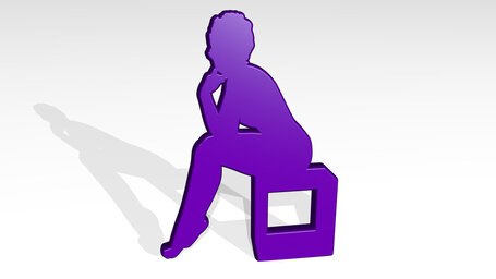 woman siting on a box