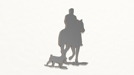 man ridding horse with his dog